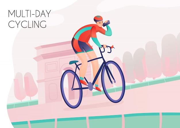 Спортсмен с бутылкой с водой в яркой спортивной одежде во время многодневной езды на велосипеде по арке Бесплатные векторы
