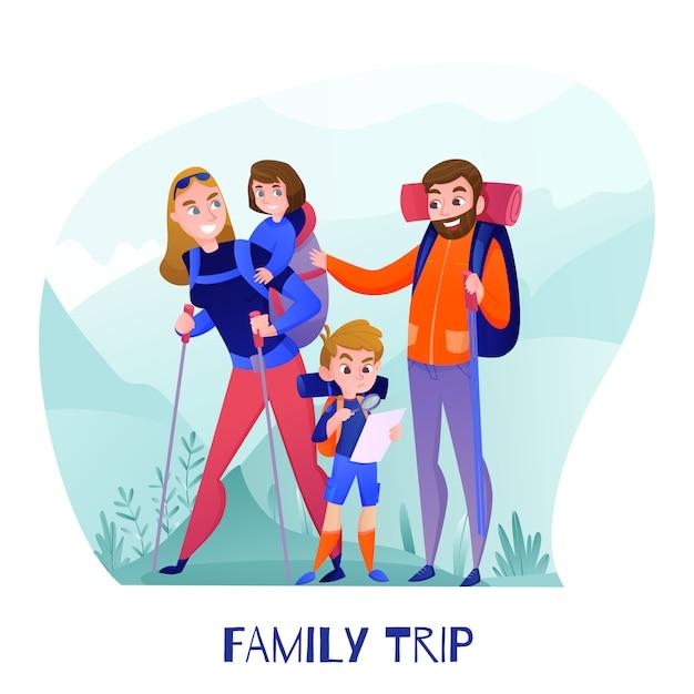 Семейные путешественники, родители и дети с туристическим снаряжением и картой во время походов в горы Бесплатные векторы