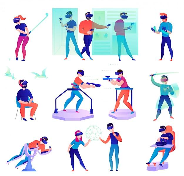 Мультфильм виртуальной реальности с людьми, использующими различные современные устройства, изолированные на белом Бесплатные векторы