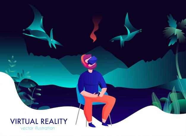 空飛ぶ恐竜の漫画を見てゴーグルの男と仮想現実の組成 無料ベクター