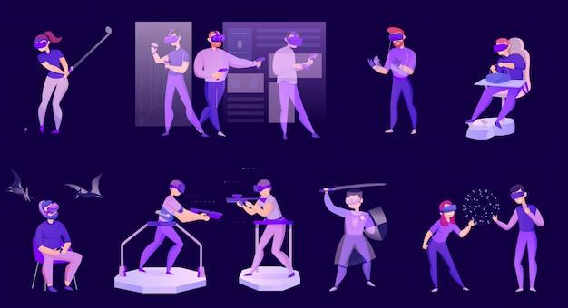 Мультяшный набор иконок с людьми в очках виртуальной реальности, изолированных на темном Бесплатные векторы