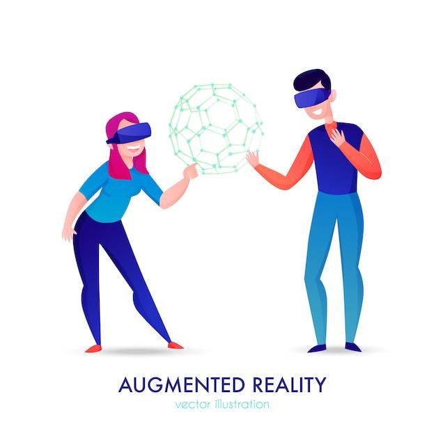 Два счастливых человека в очках дополненной реальности на белом мультфильме Бесплатные векторы