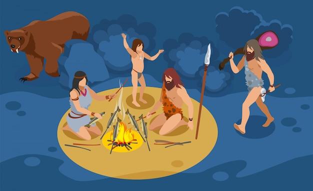 Изометрическая композиция семьи каменного века с символами охоты и кулинарии Бесплатные векторы