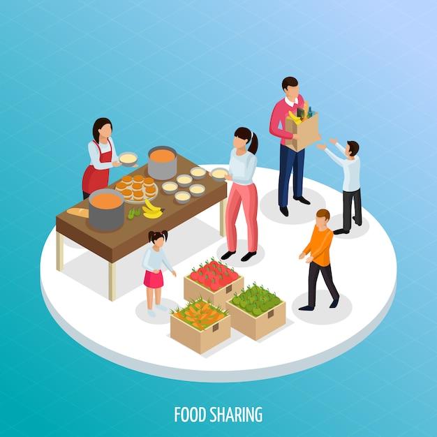 熟した果物と人々のイラストを共有するための準備ができた食べ物のビューと経済等尺性の共有 無料ベクター