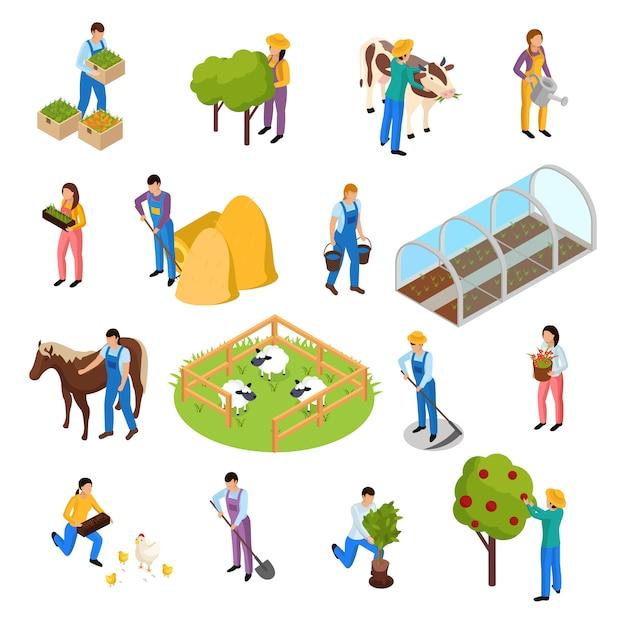Обычная жизнь фермеров изометрические коллекции с элементами сельскохозяйственных объектов растений и сельскохозяйственных рабочих Бесплатные векторы
