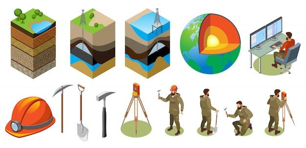 Исследование земли изометрическое строение земных слоев земного шара научная лаборатория геологические инструменты Бесплатные векторы