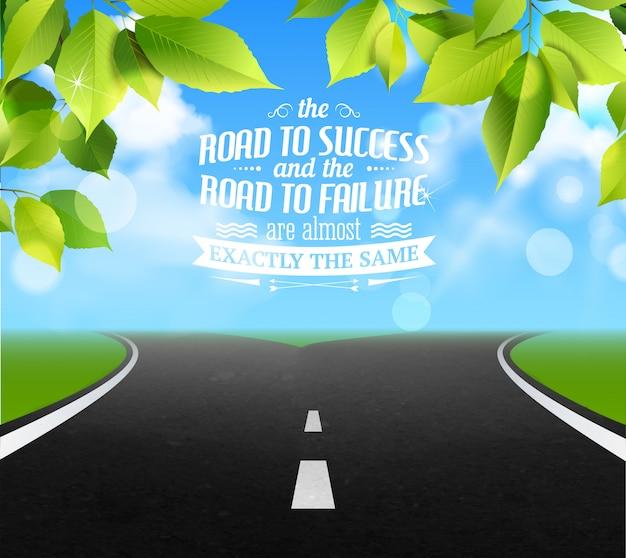 障害と成功のシンボル現実的なイラストと人生の引用符 無料ベクター