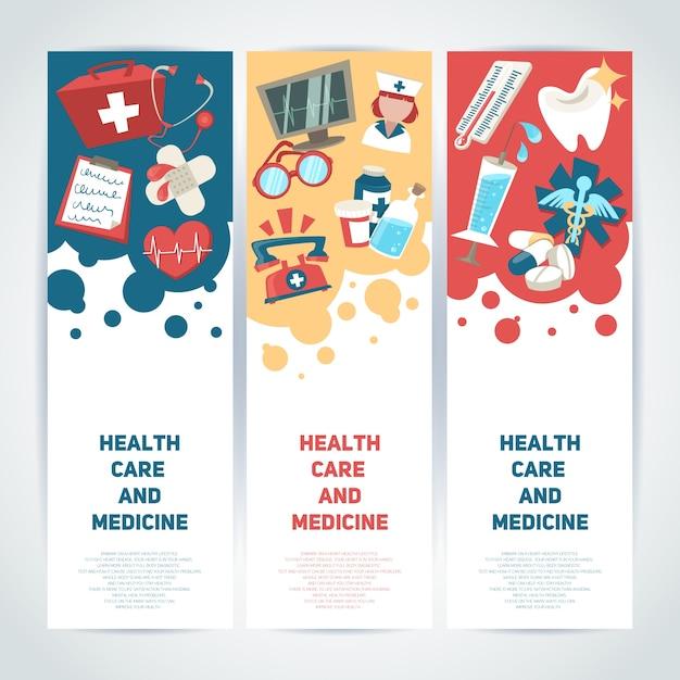 Медицинские и медицинские медицинские вертикальные баннеры набор изолированных векторной иллюстрации Бесплатные векторы