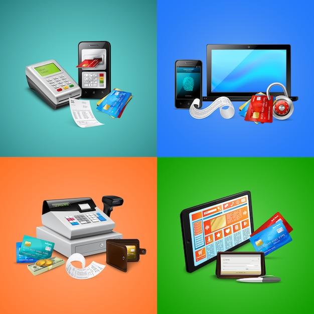 支払いカードバイオメトリックセキュリティシステムの請求書のレジとモバイルデバイスの構成 無料ベクター