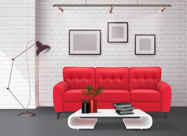 Современный простой чистый дизайн интерьера гостиной с потрясающим кожаным красным диваном с реалистичной иллюстрацией Бесплатные векторы