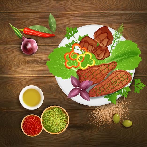 バーベキューグリルステーキ各種のハーブ調味料と木製のテーブルのリアルなイラストのソース添え 無料ベクター