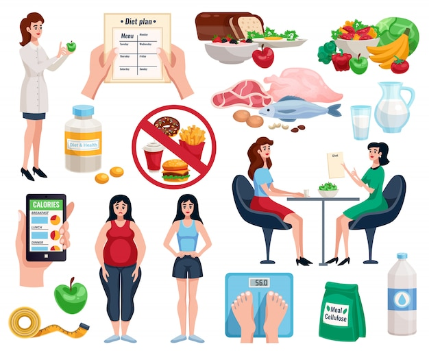 Набор диетических элементов с базовым питанием для здоровья и полезными блюдами для похудения Бесплатные векторы