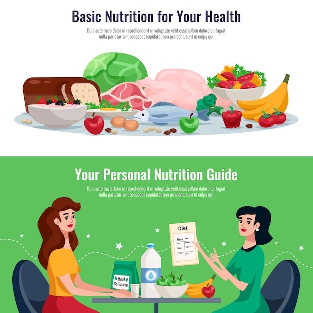 Диета горизонтальные баннеры с базовым питанием для хорошего здоровья и личного питания руководство мультфильм Бесплатные векторы