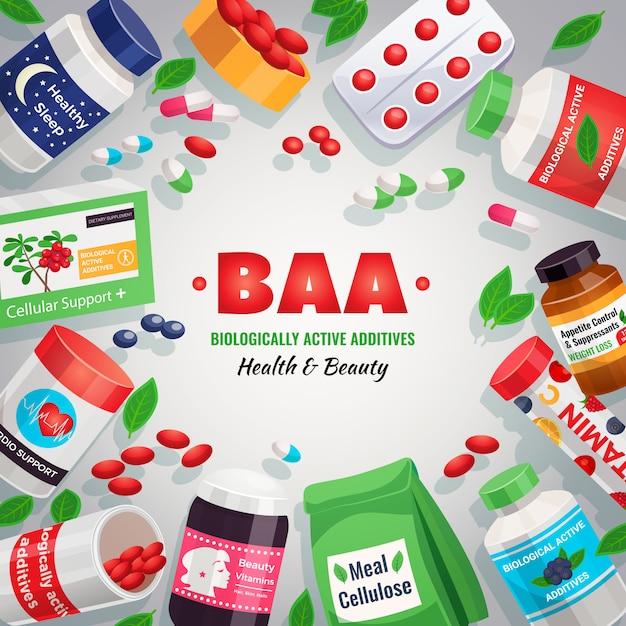 Биологически активные добавки красочный шаблон создания блистерных упаковок и банок с лекарством для здоровья и красоты иллюстрации Бесплатные векторы