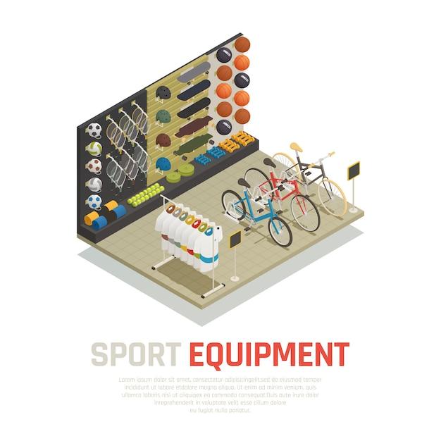 Стоп полки со спортивным оборудованием теннисные ракетки, скейтборды, коврики для йоги и велосипедов изометрическая композиция Бесплатные векторы