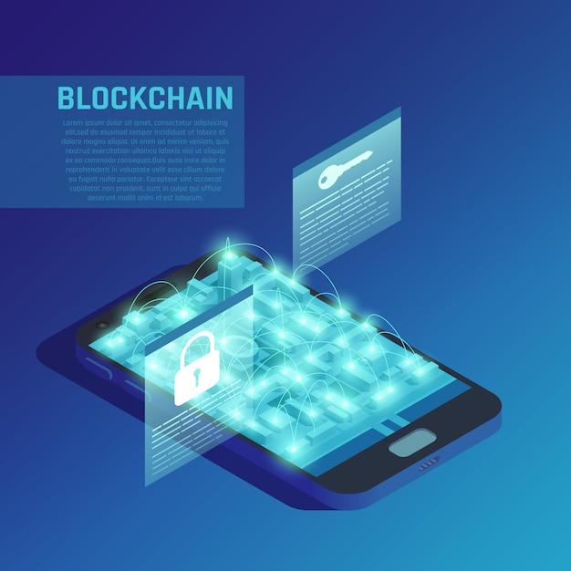 Блокчейн-композиция на голубом демонстрирует современные технологии безопасной передачи зашифрованных данных Бесплатные векторы