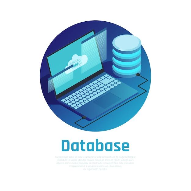 База данных синий круглый шаблон с ноутбуком, подключенным к сети облачных вычислений Бесплатные векторы
