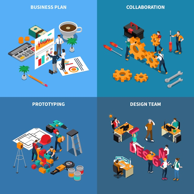 Работа в команде сотрудничества изометрии с символами бизнес-плана, изолированных иллюстрация Бесплатные векторы