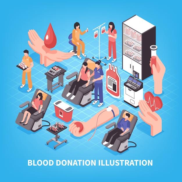 Донорство и банк крови медицинского персонала и оборудования на синем изометрической иллюстрации Бесплатные векторы