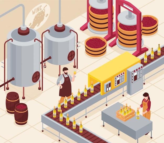 ブドウ瓶詰めコンベアの押すと樽等尺性図の飲み物の老化とワインの製造 無料ベクター