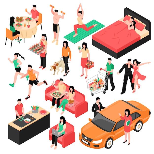 Повседневная пара мужчина и женщина изометрической набор во время еды работы покупки и сна изолированных иллюстрация Бесплатные векторы