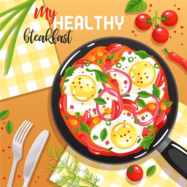 卵野菜とテーブルトップビューフラットイラストでフライパンに緑の健康的な朝食 無料ベクター