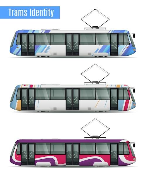 Пассажирский трамвайный поезд реалистичный макет набор из трех аналогичных трамвайных вагонов с различными рисунками расцветки ливрей иллюстрации Бесплатные векторы