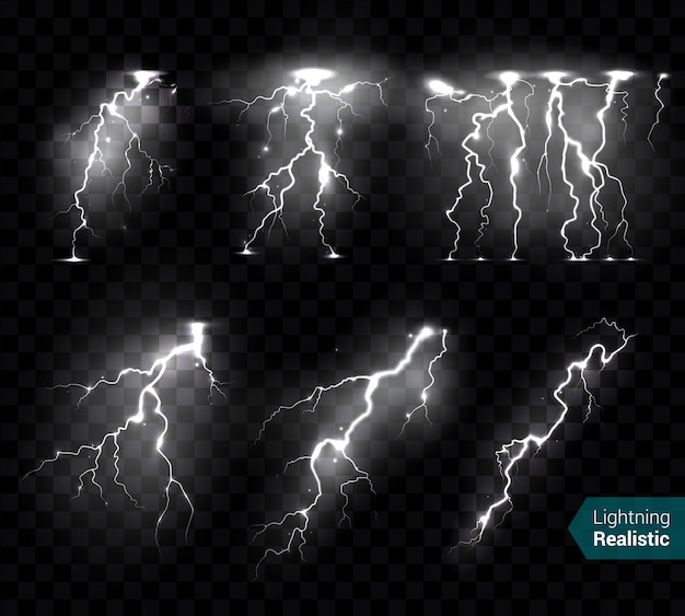 Реалистичные молнии мигает коллекция белых изображений изолированных монохромных молнии на прозрачной с текстом Бесплатные векторы