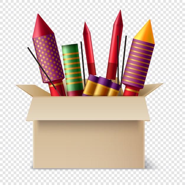 Реалистичная пиротехника в составе коробки с различными бенгальскими огнями и бенгальскими огнями внутри картонной коробки Бесплатные векторы