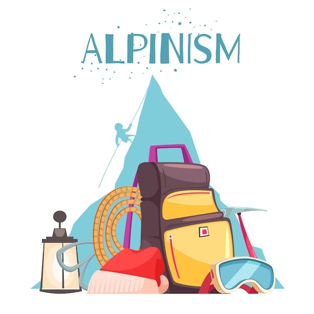 Альпинистское снаряжение мультфильм композиция с альпинистами альпинистские снасти веревка ледоруб рюкзак солнцезащитные очки Бесплатные векторы