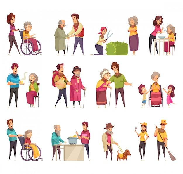 高齢者の専門的な社会的支援サービス労働者ボランティア家族サポート分離フラット漫画要素セット 無料ベクター