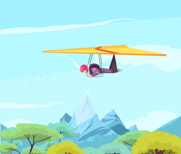 オリエンタルな木々や山々の上を滑空するフリースタイルハングスカイダイビングエクストリームスポーツフラット 無料ベクター