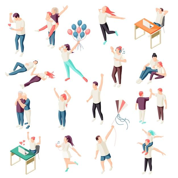 Счастливые люди проводить время вместе, отдыхая, наслаждаясь природой чат физической активности на открытом воздухе изометрической коллекции икон Бесплатные векторы
