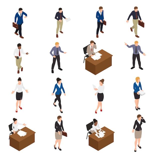 Деловые люди изометрические иконки с символикой офиса изолированных иллюстрация Бесплатные векторы