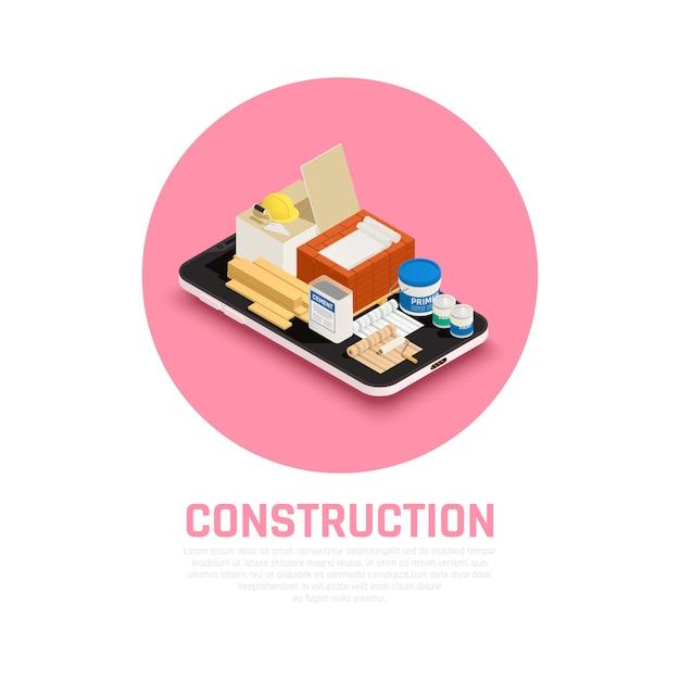 Концепция строительной отрасли с изометрической иллюстрацией оборудования для строительства и ремонта Бесплатные векторы