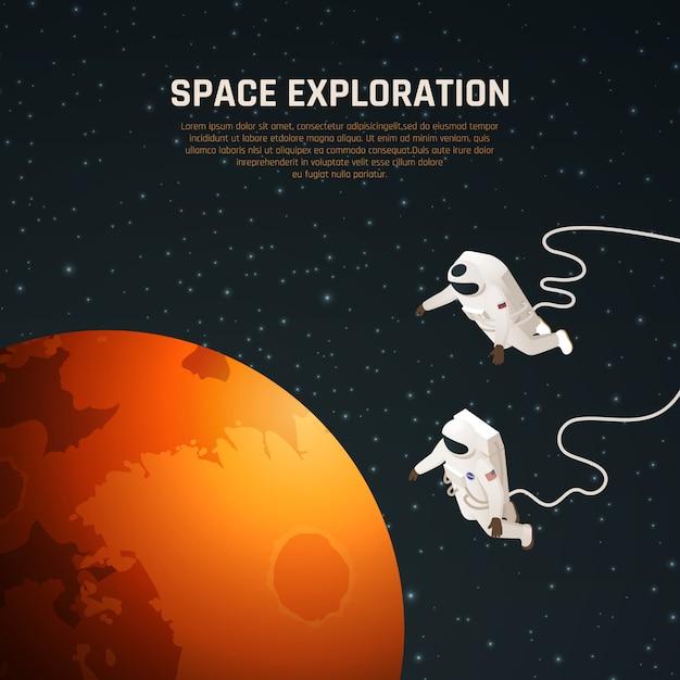 Космические исследования фон с символами исследования космического пространства изометрии Бесплатные векторы