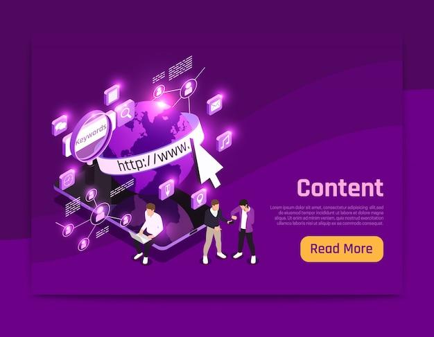 Изометрическая страница веб-контента с иллюстрацией символов мира Бесплатные векторы