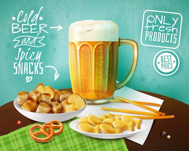 冷たいビールのマグカップとクラッカーとスナックのリアルなイラストのボウルと背景を広告する新鮮な製品 無料ベクター