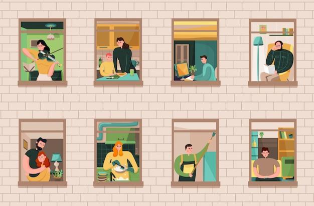 Набор соседей во время различных действий в окнах дома на кирпичной стене Бесплатные векторы