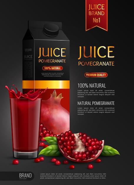 Натуральный гранатовый сок рекламного реалистичного состава черного цвета с пакетами семян и полным стаканом Бесплатные векторы