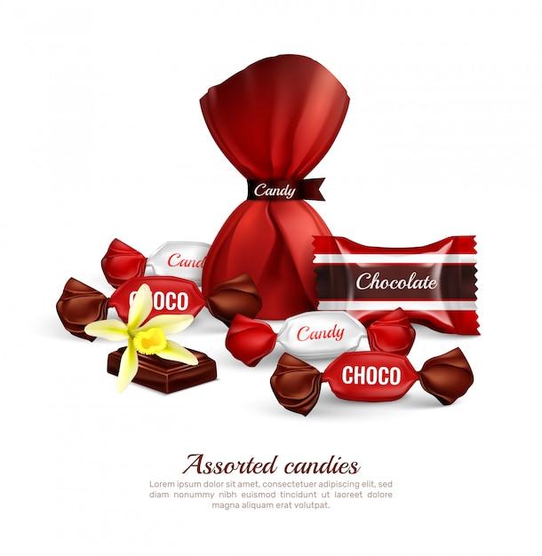 Ассорти из шоколадных конфет в красочной фольгированной упаковке со свежими ванильными цветочными буквами реалистичной рекламной композиции Бесплатные векторы
