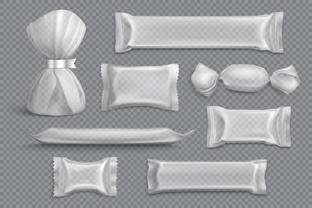 Конфетная упаковка поставляет продукты, заготовки образцов макетов, коллекция на прозрачных пленочных обертках реалистично Бесплатные векторы