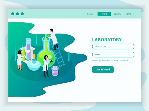 Изометрическая веб-страница разработки вакцин с пользовательским меню и иконкой химической лаборатории Бесплатные векторы