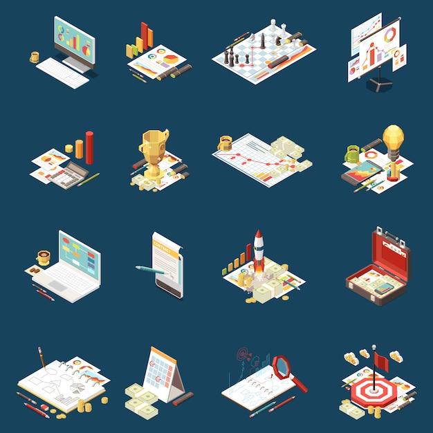 Бизнес-стратегия изометрической набор иконок, изолированных различные элементы на тему и абстрактные композиции иллюстрации Бесплатные векторы