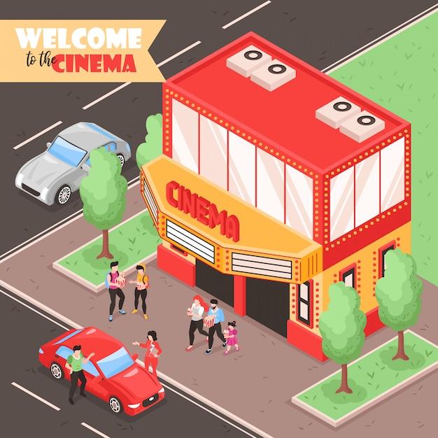 車の人々と劇場の建物の図が付いている街の屋外ビューと等尺性映画映画構成 無料ベクター