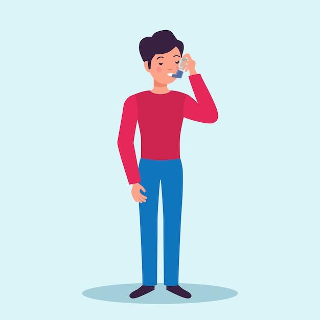 Астма пациент, имеющий быстрые симптомы облегчения лекарства ингалятор, предотвращающий приступы плоской характер медицинской рекламы Бесплатные векторы