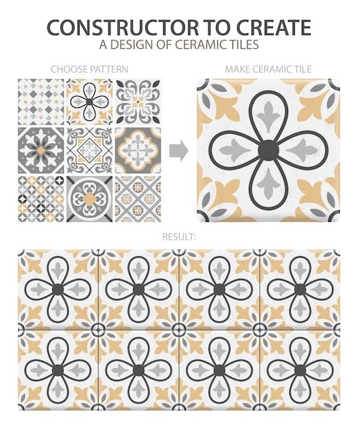 Реалистичная керамическая напольная плитка винтажного образца с одним типом или набором, составленным из разных плиток Бесплатные векторы