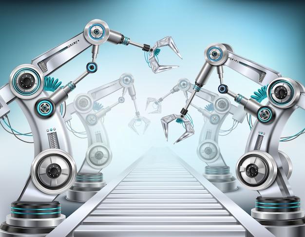 ロボットアームを搭載した完全自動化された生産ラインコンベアシステム 無料ベクター