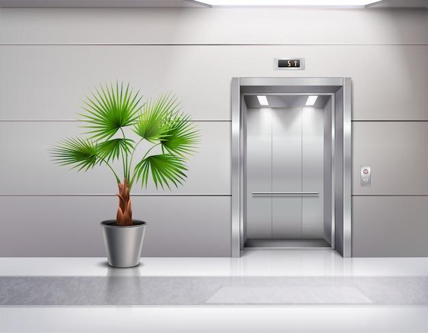 現実的な開かれたエレベーターのドアの横にある装飾的な鉢植えの手のひらでモダンなホールのインテリア 無料ベクター