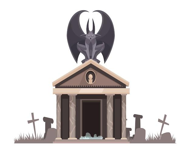 十字架漫画イラストの墓の近くの墓地の地下室の屋根の上に座って広げた翼を持つ暗い悪 無料ベクター